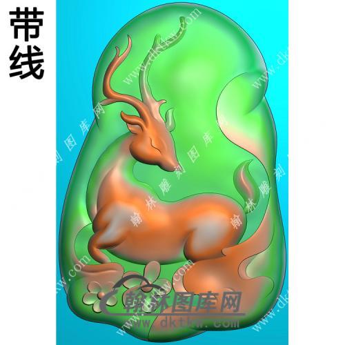 玉雕随形梅花鹿挂件带线精雕图(GL-021)