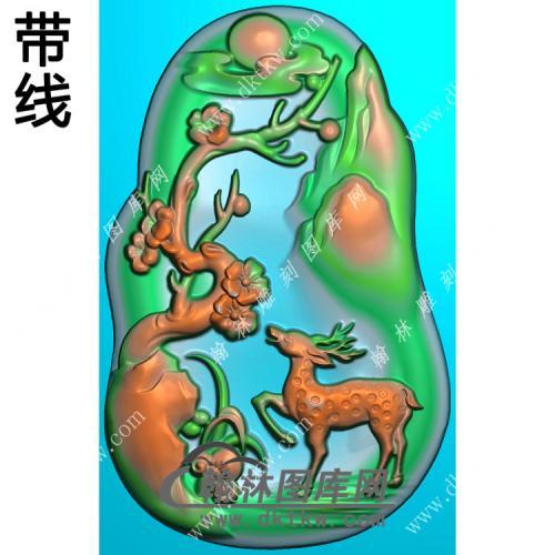 玉雕随形梅花鹿挂件带线精雕图(GL-022)