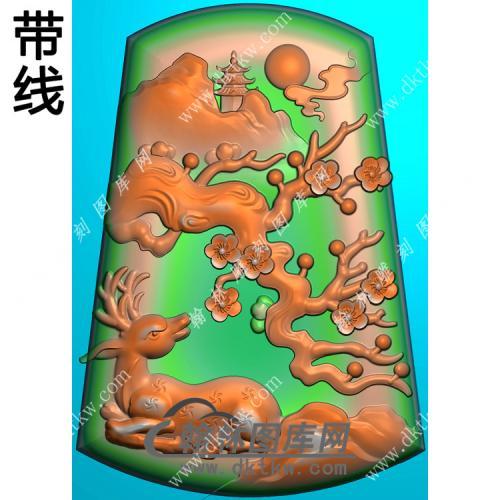 玉雕梯形山水梅花鹿挂件带线精雕图(GL-020)