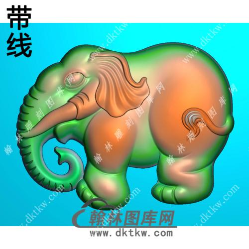 双面小象挂件带线精雕图(GX-007)