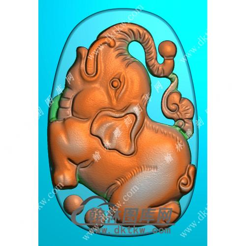 椭圆小象挂件扫描图精雕图(GX-011)