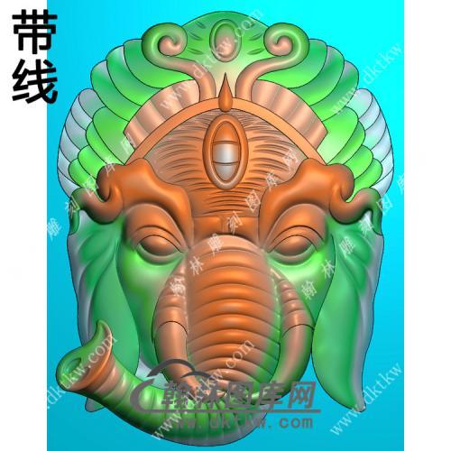 象头挂件带线精雕图(GX-008)