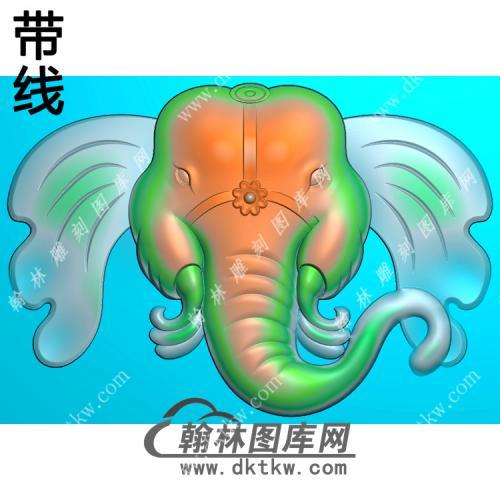 玉雕象头挂件带线精雕图(GX-015)