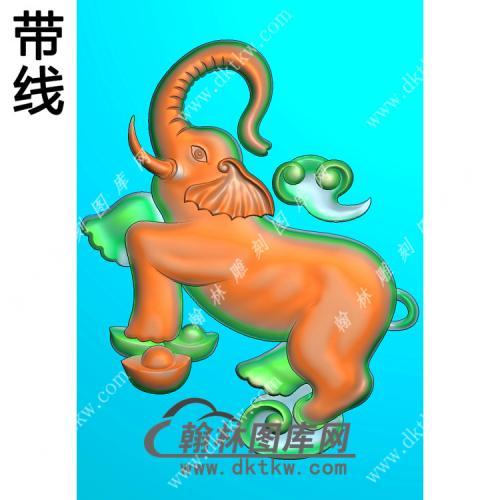 元宝小象挂件带线精雕图(GX-009)
