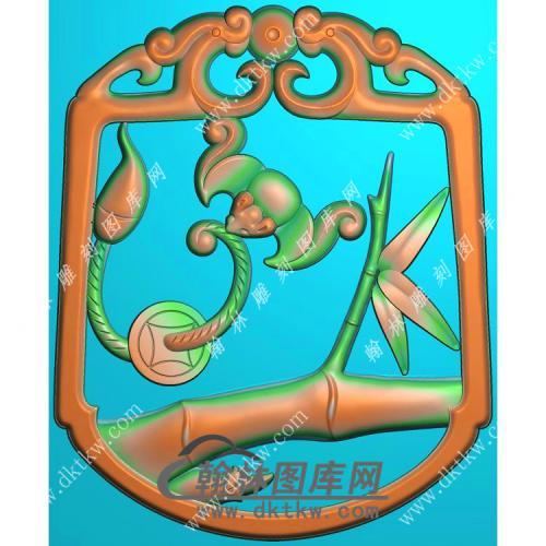 双龙牌头祝福蝙蝠竹子挂件精雕图(BF-059)