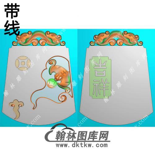双面吉祥有福蝙蝠挂件带线精雕图(BF-039)