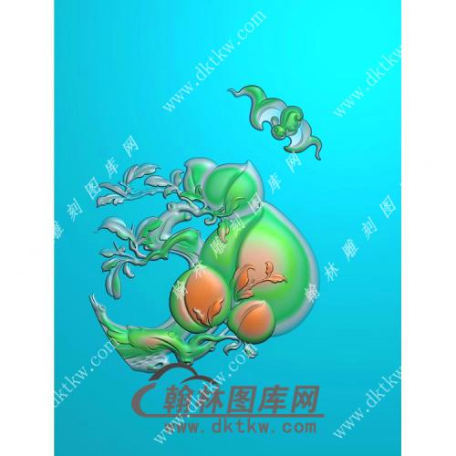 椭圆福寿蝙蝠寿桃挂件精雕图(BF-055)