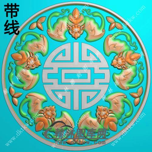 圆形五福捧寿寿字蝙蝠挂件带线精雕图(BF-064)