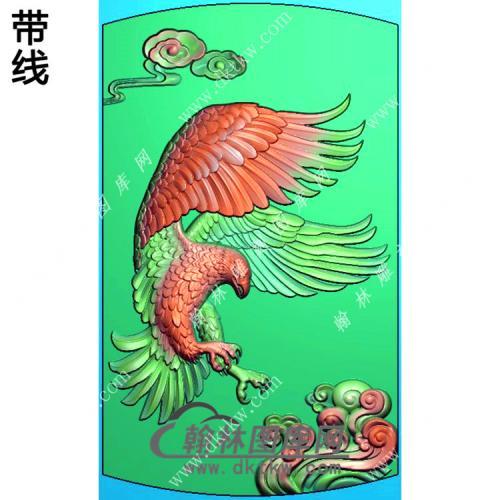 老鹰46牌挂件带线精雕图(GJY-073)