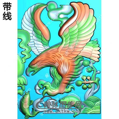 鲤鱼老鹰挂件精雕图(GJY-043)