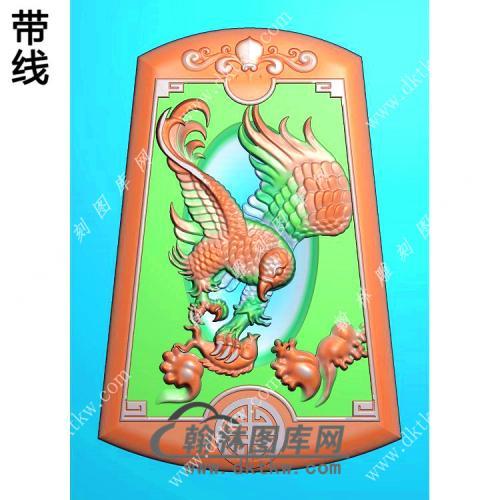 梯形雄鹰挂件精雕图(GJY-053)