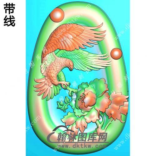 椭圆凹底牡丹老鹰挂件带线精雕图(GJY-067)