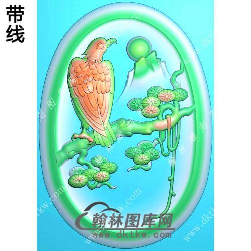 椭圆凹底松树老鹰挂件带线精雕图(GJY-050)