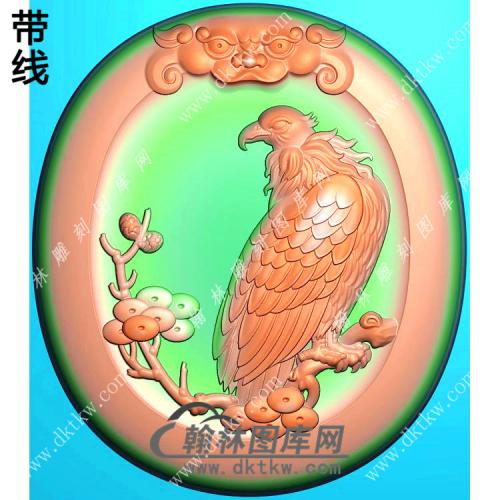 椭圆高瞻远瞩老鹰挂件带线精雕图(GJY-028)