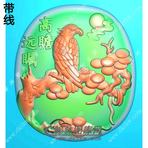 椭圆高瞻远瞩老鹰挂件精雕图(GJY-052)