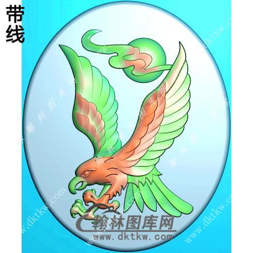 椭圆老鹰挂件精雕图(GJY-029)