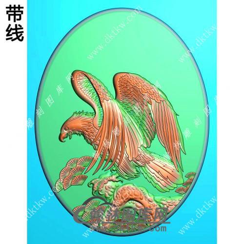 椭圆老鹰挂件精雕图(GJY-054)