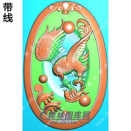 椭圆鹰抓鱼挂件精雕图(GJY-062)