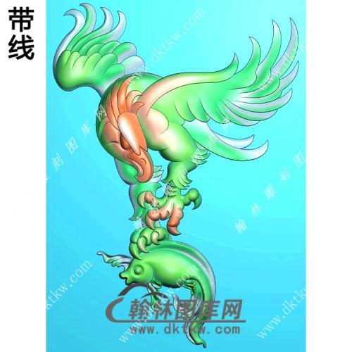 鹰捉鱼老鹰挂件带线精雕图(GJY-032)