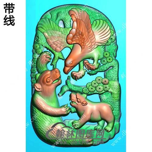 玉雕狗熊老鹰英雄挂件带线精雕图(GJY-063)