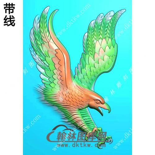 玉雕老鹰46牌挂件带线精雕图(GJY-074)