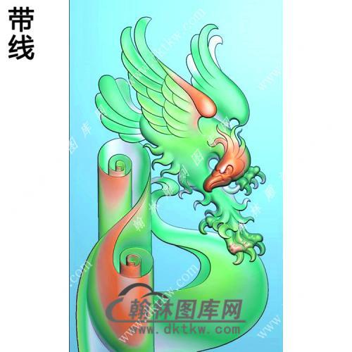 玉雕老鹰挂件精雕图(GJY-038)