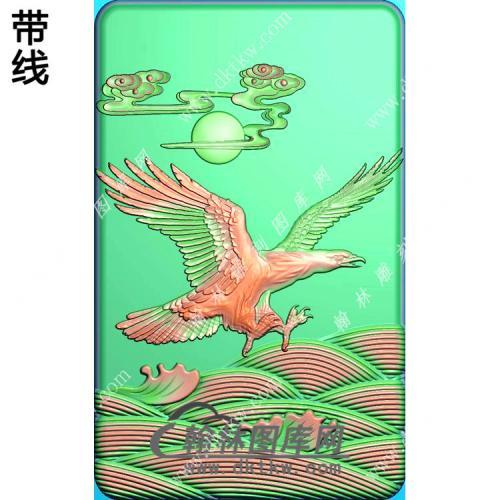 玉雕老鹰挂件精雕图(GJY-039)