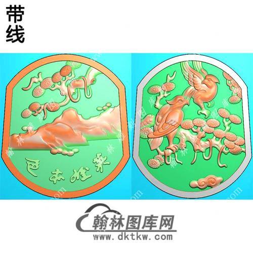 玉雕双面松树老鹰挂件带线精雕图(GJY-069)