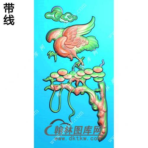 玉雕松树老鹰挂件精雕图(GJY-065)