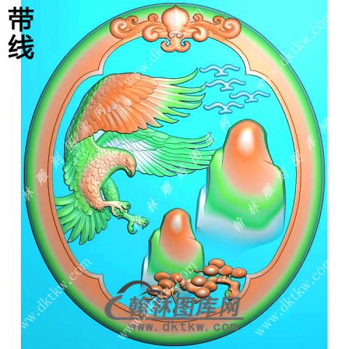 玉雕椭圆老鹰挂件精雕图(GJY-070)