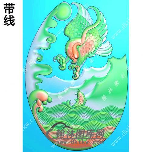 玉雕椭圆老鹰抓鱼挂件精雕图(GJY-072)