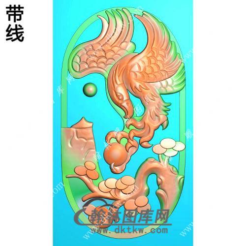 玉雕椭圆松树老鹰挂件带线精雕图(GJY-066)