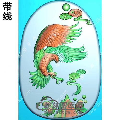 玉雕雄鹰挂件带线精雕图(GJY-035)