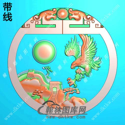 圆形长城老鹰挂件带线精雕图(GJY-057)