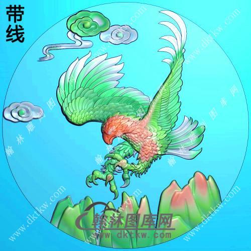 圆形老鹰挂件带线精雕图(GJY-047)
