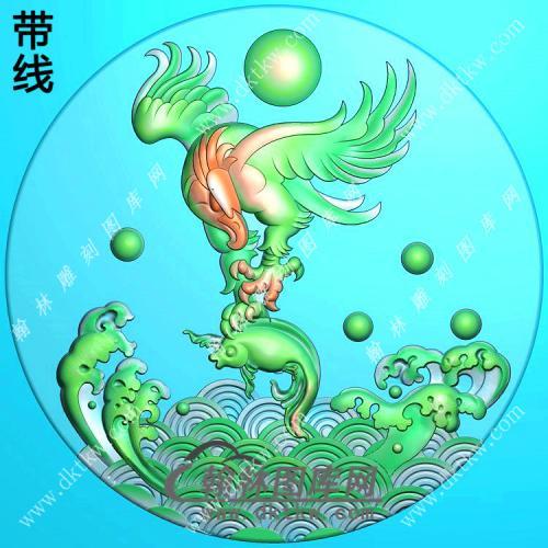圆形老鹰抓鱼挂件带线精雕图(GJY-056)
