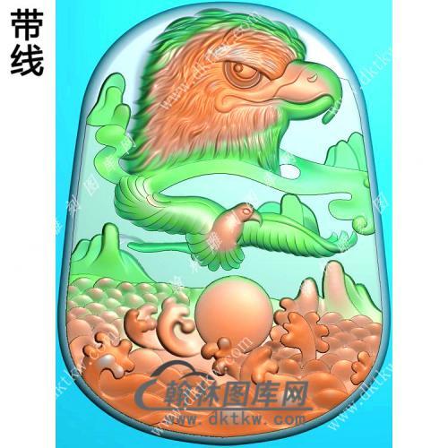 自由翱翔鹰头挂件带线精雕图(GJY-036)