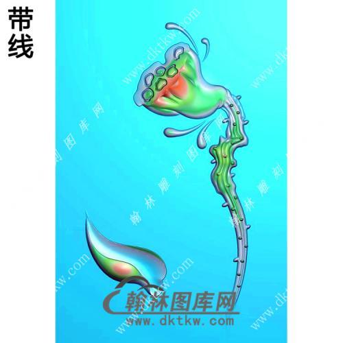 一枝独秀莲蓬46牌挂件带线精雕图(HLN-094)