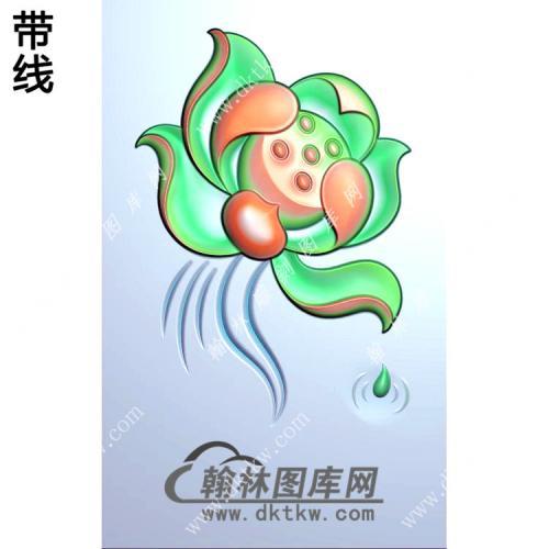 玉雕滴水荷花挂件带线精雕图(HLN-078)