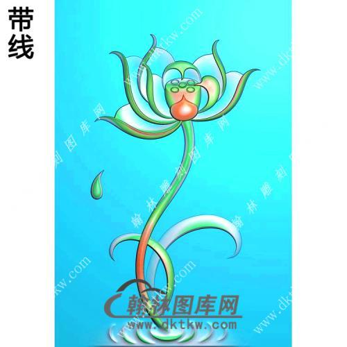 玉雕滴水荷花挂件带线精雕图(HLN-079)
