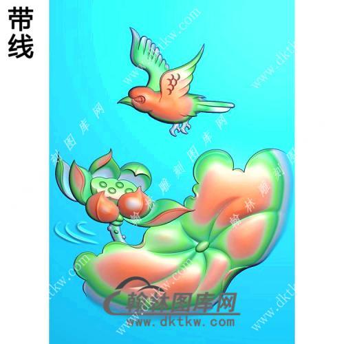 玉雕荷花花鸟挂件带线精雕图(HLN-129)