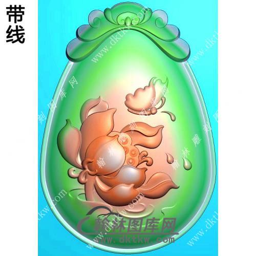 玉雕蝴蝶莲花挂件带线精雕图(HLN-110)