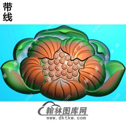 玉雕立体莲花挂件带线精雕图(HLN-133)