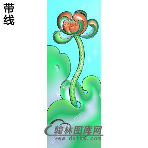 玉雕莲花牌挂件带线精雕图(HLN-119)