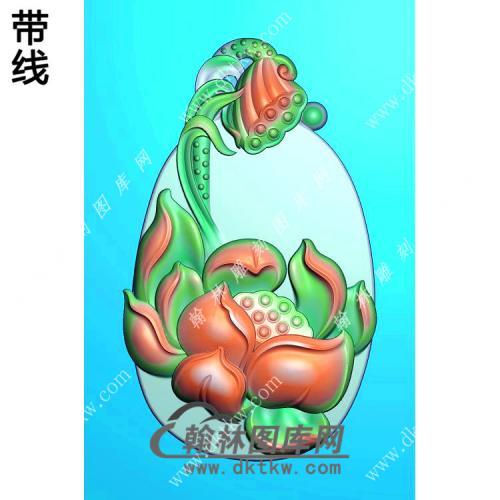 玉雕莲蓬莲花挂件带线精雕图(HLN-115)