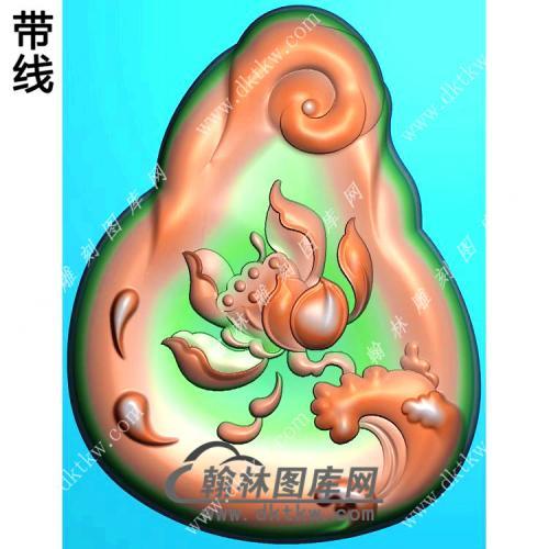 玉雕随形凹底水浪莲花挂件带线精雕图(HLN-154)