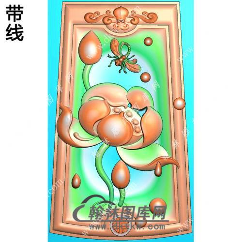 玉雕梯形凹底洋花牌头蜻蜓荷花莲花挂件带线精雕图(HLN-139)