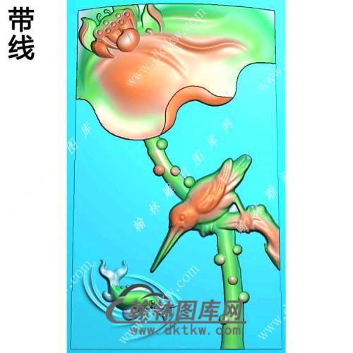 玉雕梯形荷花翠鸟捉鱼挂件精雕图(HLN-150)
