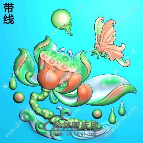 玉雕圆形蝴蝶莲花圆牌挂件带线精雕图(HLN-158)