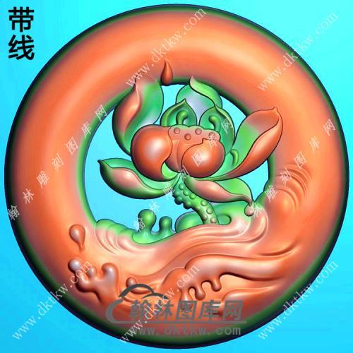 玉雕圆形镂空滴水莲花挂件带线精雕图(HLN-132)